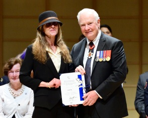 GG01-2016-0070-089 March 04, 2016 Vancouver, British Columbia, Canada. Lori Fry, 150 Mile House, British Columbia. Their Excellencies the Right Honourable David Johnston, Governor General of Canada, and Mrs. Sharon Johnston were in Vancouver between Thursday, March 3 and Friday, March 4, 2016 for an official visit. While in Vancouver, the Governor General recognized remarkable Canadians with awards and honours. In addition, Their Excellencies participated in a number of cultural, innovation-themed, and community-building events. Presentation of Honours. His Excellency presented honours to more than 150 remarkable Canadians to recognize excellence, courage or exceptional dedication to service. His Excellency presents the Governor General's Caring Canadian Award to: Lori Fry from 150 Mile House, British Columbia. Credit: Sgt Ronald Duchesne, Rideau Hall, OSGG